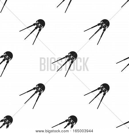 Sputnik One icon in  black style isolated on white background. Space pattern vector illustration.