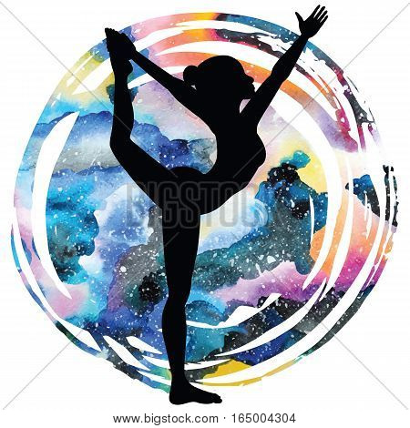 Women silhouette on galaxy astral background. Lord of the dance yoga pose. Natarajasana. Vector illustration.