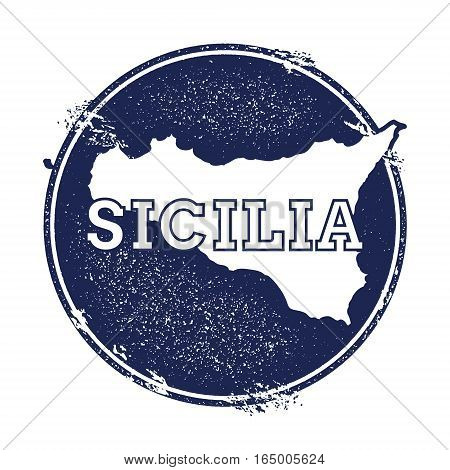 Sicilia Vector Map. Grunge Rubber Stamp With The Name And Map Of Island, Vector Illustration. Can Be