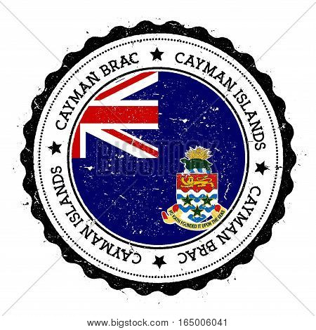 Cayman Brac Flag Badge. Vintage Travel Stamp With Circular Text, Stars And Island Flag Inside It. Ve