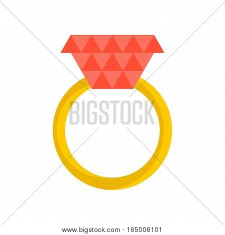 Gold Ring With Ruby ​​isolated. Jewelry On White Background