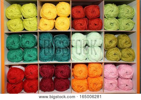 Wool Balls For Sale On The Shelves Of Haberdashery