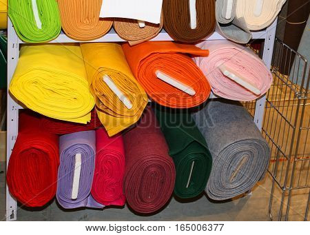 Fabric For Sale On The Shelves Of Haberdashery