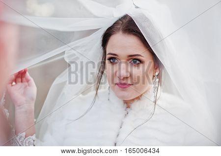 Blue Eyes Of Cute Bride Under Veil And Lookin Of Her Groom.