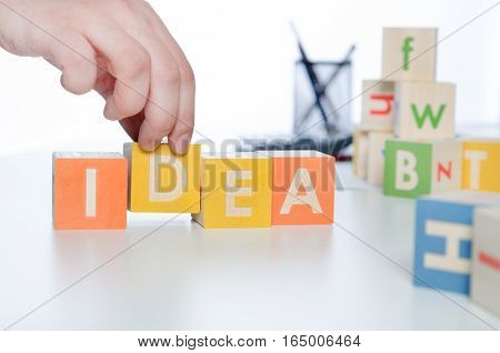 Idea Word With Colorful Blocks