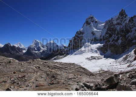 High mountains in the Everest National Park Nepal. Landscape on the way from Gokyo to Renjo La mountain pass.