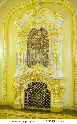 ODESSA UKRAINE - MAY 17 2015: The richly decorated fireplace in the hall of Opera Theatre on May 17 in Odessa.