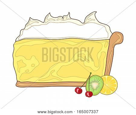 an illustration of a piece of lemon pie with custard cream and fruit on a white background in advert format