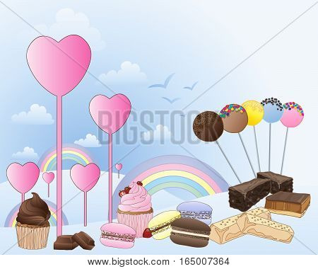 an illustration of a fantasy land of confectionery with hearts rainbows and clouds with a selection of sweet treats on a light blue background