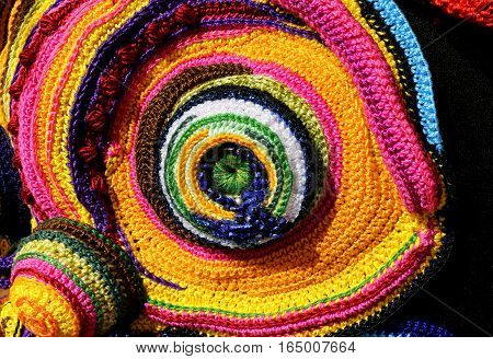 Colorful Weavings Of Wool And Cotton Threads With Geometric Shap