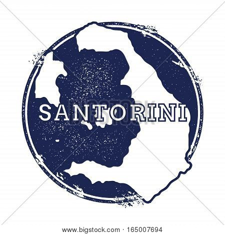 Santorini Vector Map. Grunge Rubber Stamp With The Name And Map Of Island, Vector Illustration. Can