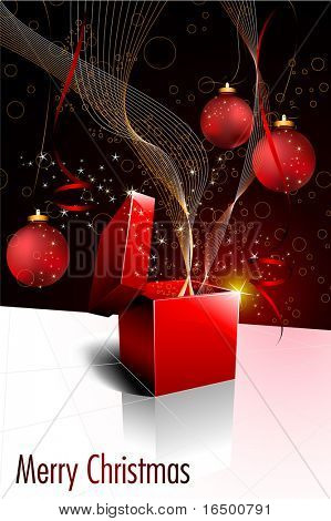 Christmas Festive Gift Box Opening - Vector Greeting Card with Christmas Balls