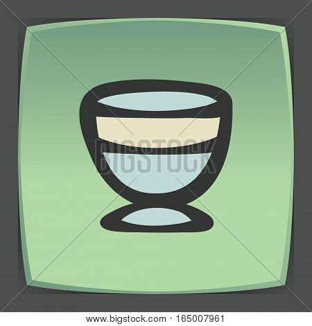 Vector outline ice cream bowl icon on green flat square plate. Elements for mobile concepts and web apps. Modern infographic logo and pictogram.