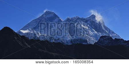 Mount Everest and Lhotse view from Renjo La mountain pass.