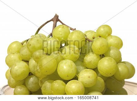 Green grape berries in a plate isoltated on white closeup