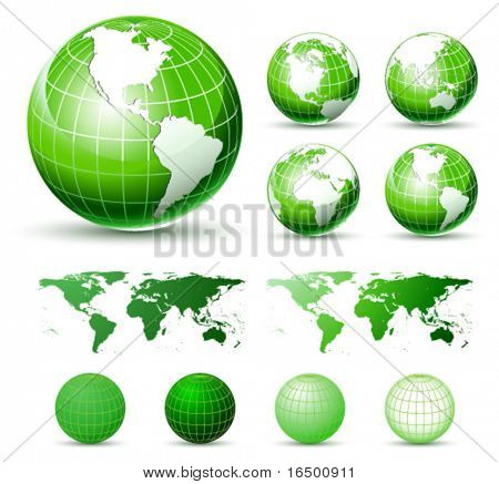 3D Vector Icons: Glossy Green Earth Globes. Different views. elements Available For Making Other Views