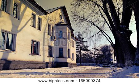 The house in the style of Stalin in the provincial Russian town. Bilding in style Stalin neoclassicism