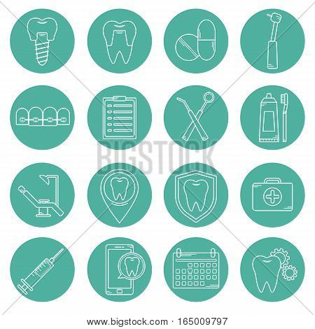 Set Of Vector Icons In Dental Linear Style. Icons For The Web Site Dental Clinic. Orthodontics, Impl