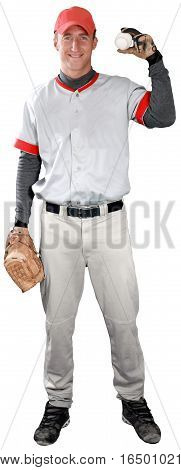 Baseball Player Standing and Holding Ball - Isloated