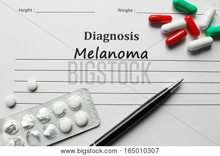 Melanoma on the diagnosis list medical concept poster