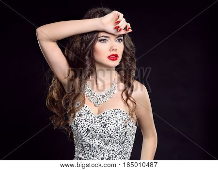 Makeup. Fashion Woman. Curly Hair. Diamond Jewelry Set. Portrait Of A Sexy Brunette Girl Model With