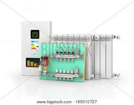Collector manifold heating system for underfloor heating. 3d illustration