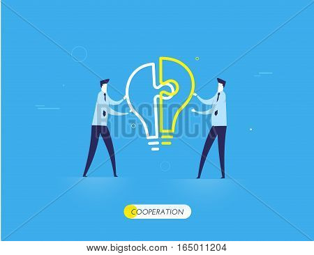 Businessmen connect puzzle lamp. Joint efforts, success, union, idea. Vector illustration Eps 10 file. Success Cooperation