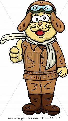 Cat Aviator Thumb Up Cartoon Illustration Isolated on White