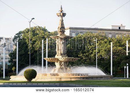 Sevilla (Andalucia Spain): monumental fountain near Plaza de Espana