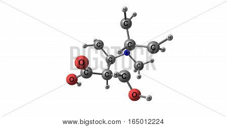 Ecgonine - tropane derivative - is a tropane alkaloid found naturally in coca leaves. It has a close structural relation to cocaine. 3d illustration