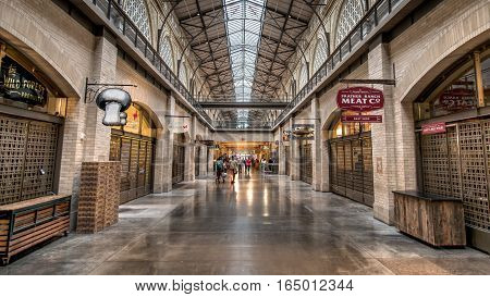SAN FRANCISCO, CA - September 02, 2014: Farmers market hall inside the Ferry building in San Francisco.