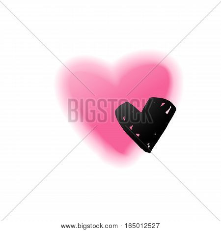 Vector romance card with hand painted and blurred heart on white background. St. Valentines day symbols, romantic wedding invitation, promotion coupon of gift for two, concept of love, family, couple