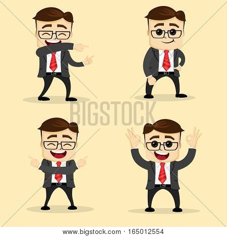Vector flat illustration. Set of business man in different poses. Manager character or businessman in various pose.