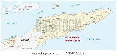 Vector road map of the Democratic Republic of Timor-Leste