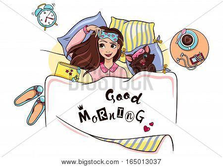 Vector illustration good morning. Cute girl and her cat in bed. Beautiful young woman in pajamas. Merry card. Cheerful background