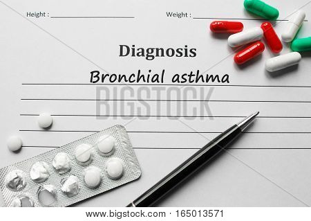 Bronchial Asthma On The Diagnosis List, Medical Concept