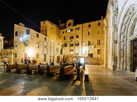 The night square at the Cathedral of St. James in Sibenik, Croatia.