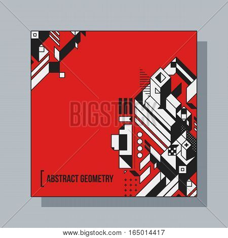 Square Background Design Template With Abstract Geometric Elements. Useful For Cd Covers, Advertisin