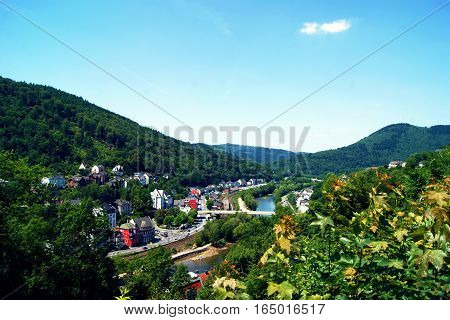 View from the hill of the city Altena (Sauerland, Germany)