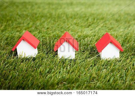 House Model Arranged In Row On Grassy Field