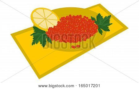 Red caviar on a plate with lemon and parsley