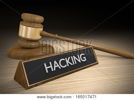 Law enforcement and legal cases against hacking and cyber crime, 3D rendering