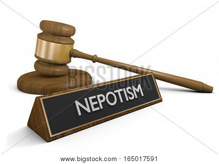 Nepotism laws against favoring friends and relatives for jobs and business advantages, 3D rendering