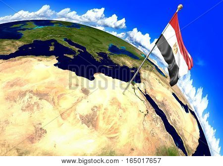 Egypt national flag marking the country location on world map. 3D rendering, parts of this image furnished by NASA