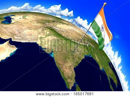 India national flag marking the country location on world map. 3D rendering, parts of this image furnished by NASA