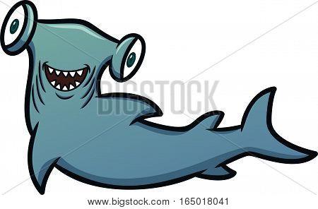 Happy Hammerhead Shark Cartoon Illustration Isolated on White