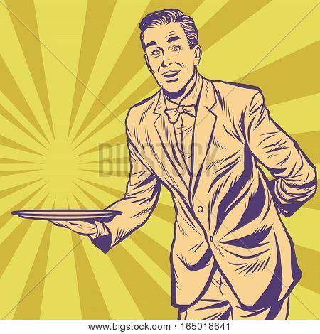 Male waiter with tray. Pop art retro vector illustration
