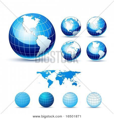 3D Icons: Glossy Earth Globes. Different views. Elements available for making other views. Upgraded Glossy version