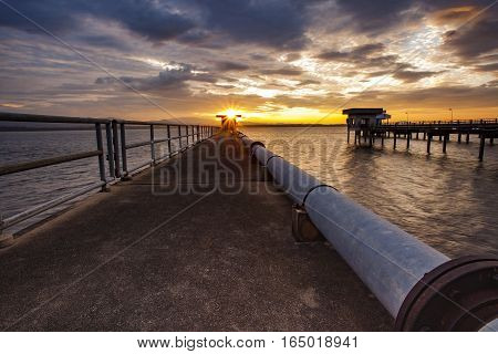 sun rising sky at bangphra reservoir and waterwork station in chonburi eastern of thailand