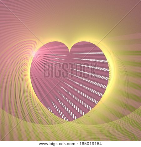 Fractal retro heart made from magenta and yellow color stripes with place for a text